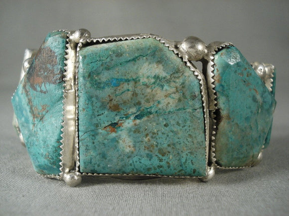 Museum Vintage Navajo Green Turquoise Native American Jewelry Silver Bracelet-Nativo Arts