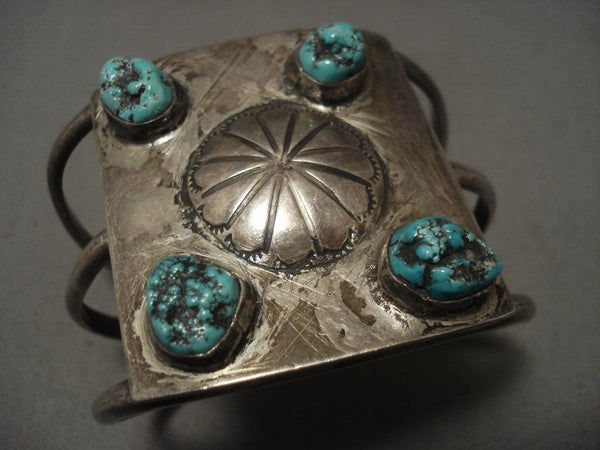 Museum Vintage Navajo Hand Wrought Shell Turquoise Native American Jewelry Silver Bracelet