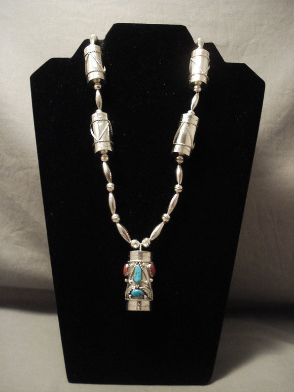 Museum Vintage Navajo 'Handmade Drum' Turquoise Coral Native American Jewelry Silver Chiming Necklace-Nativo Arts