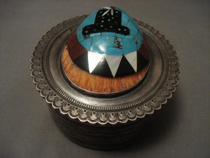 Museum Vintage Navajo Harry Morgan Turquoise Inlaid Native American Jewelry Silver Box-Nativo Arts