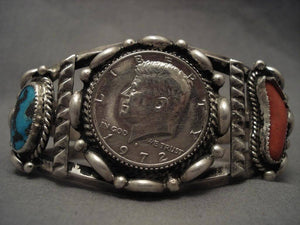 Museum Vintage Navajo High Grade Bisbee Turquoise Native American Jewelry Silver Bracelet-Nativo Arts