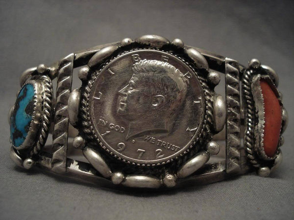 Museum Vintage Navajo High Grade Bisbee Turquoise Native American Jewelry Silver Bracelet