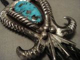 Museum Vintage Navajo 'Horns' Turquoise Native American Jewelry Silver Bolo Tie Old-Nativo Arts