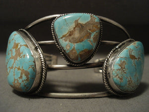 Museum Vintage Navajo 'Huge Chunk #8 Turquoise' Native American Jewelry Silver Bracelet-Nativo Arts