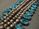 Museum Vintage Navajo 'Huge Chunk' Old Kinmgan Turquoise Native American Jewelry Silver Necklace-Nativo Arts
