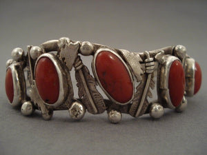 Museum Vintage Navajo 'Huge Domed Chunk Coral' Native American Jewelry Silver Feather Bracelet-Nativo Arts