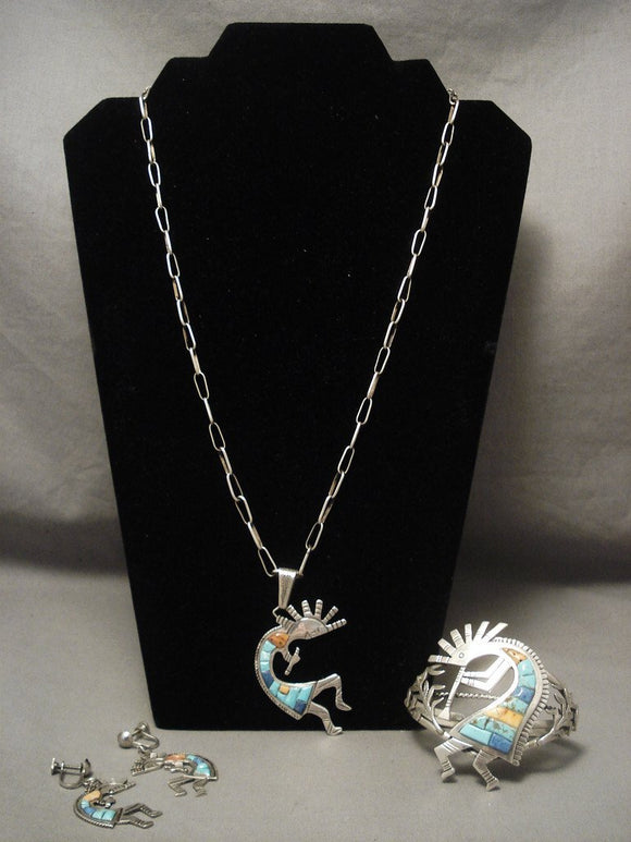 Museum Vintage Navajo Kokopelli Inlay Native American Jewelry Silver Bracelet Set-Nativo Arts