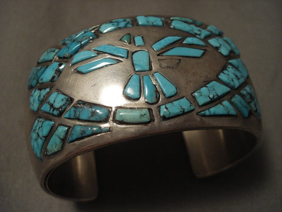 Museum Vintage Navajo 'Lone Mountain Turquoise Bird' Native American Jewelry Silver Bracelet-Nativo Arts