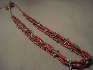 Museum Vintage Navajo Native American Jewelry jewelry Early 1900's Coral Turquoise Necklace-Nativo Arts