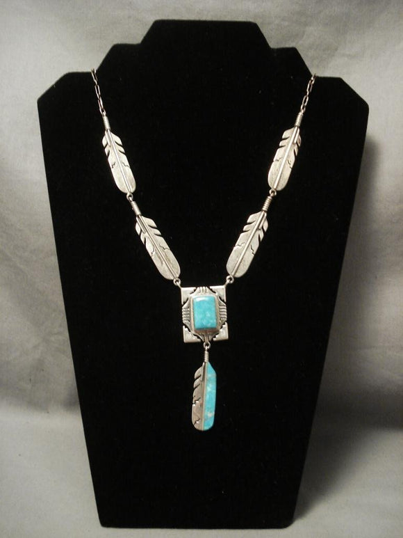 Museum Vintage Navajo Native American Jewelry jewelry Feather Turquoise Necklace-Nativo Arts