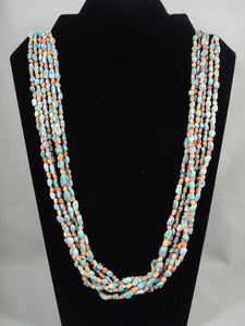 Museum Vintage Navajo Native American Jewelry jewelry 'Little Chunky' Turquoise Coral Necklace-Nativo Arts