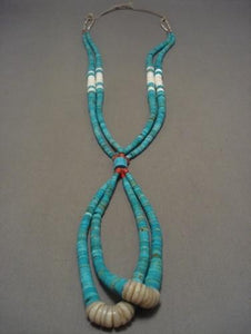 Museum Vintage Navajo Native American Jewelry jewelry Number 8 Turquoise Coral Necklace-Nativo Arts