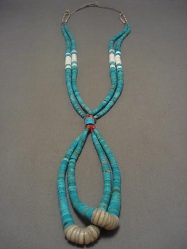Museum Vintage Navajo Native American Jewelry jewelry Number 8 Turquoise Coral Necklace
