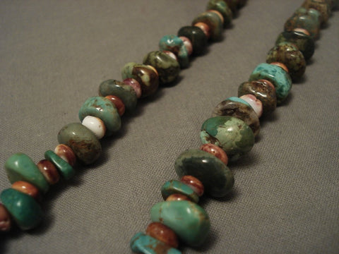 Museum Vintage Navajo Native American Jewelry jewelry Royston Turquoise Coral Necklace-Nativo Arts