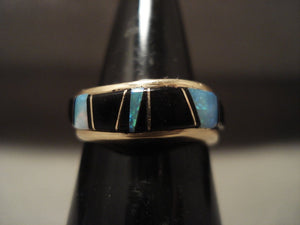 Museum Vintage Navajo Native American Jewelry jewelry Solid 14k Gold Opal And Onyx Ring Old-Nativo Arts