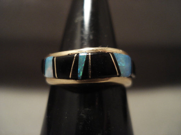 Museum Vintage Navajo Native American Jewelry jewelry Solid 14k Gold Opal And Onyx Ring Old