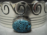 Museum Vintage Navajo Native American Jewelry jewelry Spiderweb Turquoise Sterling Silver Bracelet Cuff-Nativo Arts