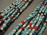 Museum Vintage Navajo Native American Jewelry jewelry Turquoise Coral Necklace-Nativo Arts