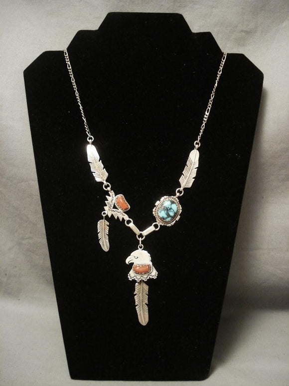 Museum Vintage Navajo Native American Jewelry jewelry Wil Manning blue Warrior Turquoise Necklace-Nativo Arts