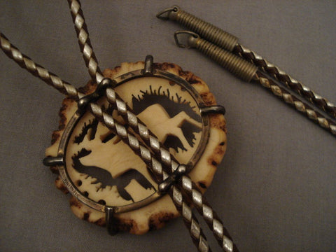 Museum Vintage Navajo Native American Jewelry jewelry yelping Elk Bolo Tie Old Pawn-Nativo Arts