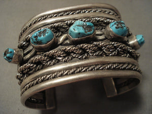 Museum Vintage Navajo 'Native American Jewelry Silver Hand Woven' Persian Turquoise Native American Jewelry Silver Bracelet-Nativo Arts