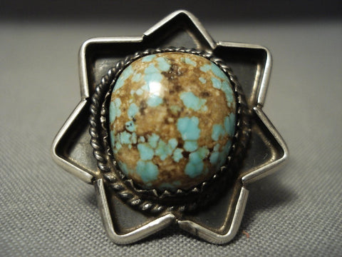 Museum Vintage Navajo Natural #8 Turquoise Sterling Native American Jewelry Silver Star Ring-Nativo Arts