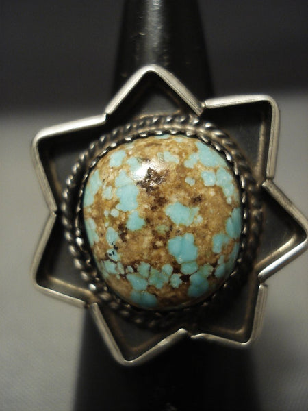 Museum Vintage Navajo Natural #8 Turquoise Sterling Native American Jewelry Silver Star Ring