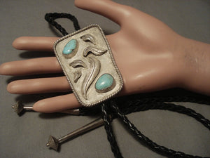 Museum Vintage Navajo Natural Carlin Turquoise Native American Jewelry Silver Bolo Tie-Nativo Arts