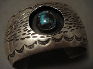 Museum Vintage Navajo 'Natural Domed Bisbee Turquoise' Native American Jewelry Silver Bracelet Old-Nativo Arts