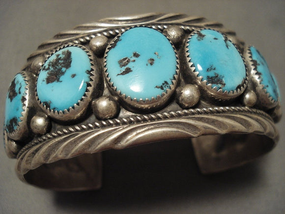 Museum Vintage Navajo 'Natural Domed Turquoise' Native American Jewelry Silver Bracelet Old-Nativo Arts