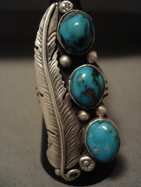 Museum Vintage Navajo Natural Pilot Mntn Turquoise Native American Jewelry Silver Leaf Ring Old-Nativo Arts