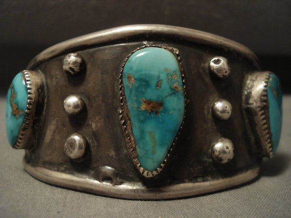 Museum Vintage Navajo Natural Royston Turquoise Native American Jewelry Silver Bracleet-Nativo Arts