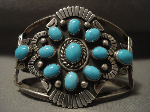 Museum Vintage Navajo Natural Turquoise Native American Jewelry Silver Bracelet-Nativo Arts
