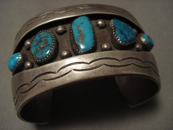 Museum Vintage Navajo Old Kingman Turquoise Native American Jewelry Silver Bracelet-Nativo Arts