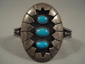 Museum Vintage Navajo Old Kingman Turquoise Sterling Native American Jewelry Silver Bracelet-Nativo Arts
