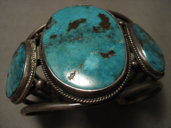 Museum Vintage Navajo Old Kingman Turquoise Vintage Native American Jewelry Silver Bracelet-Nativo Arts