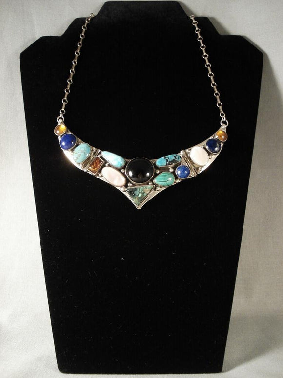 Museum Vintage Navajo open Wings Native American Jewelry Silver Necklace-Nativo Arts