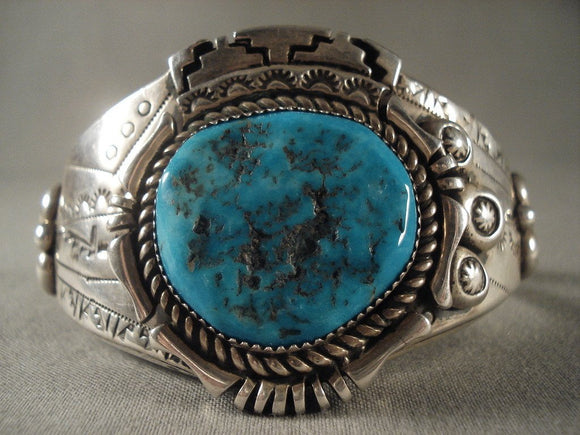 Museum Vintage Navajo Persian Turquoise Native American Jewelry Silver Bracelet Old-Nativo Arts