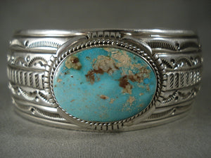 Museum Vintage Navajo Persian Turquoise Native American Jewelry Silver Bracelet-Nativo Arts