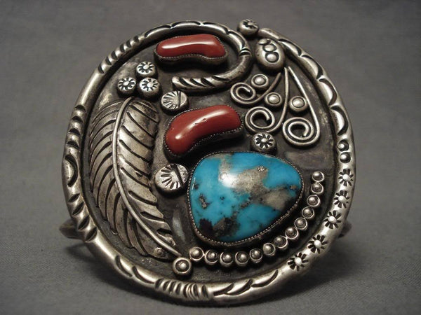 Museum Vintage Navajo Persian Turquoise Native American Jewelry Silver Coral Bracelet
