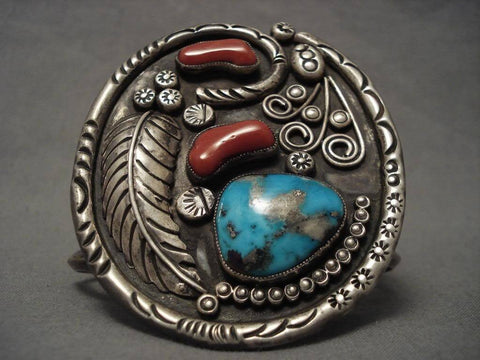 Museum Vintage Navajo Persian Turquoise Native American Jewelry Silver Coral Bracelet-Nativo Arts