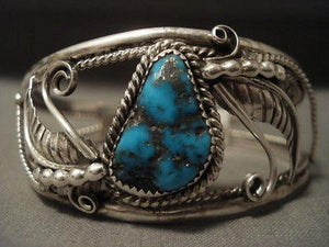 "MUSEUM VINTAGE NAVAJO """"PERSIAN TURQUOISE"""" SILVER BRACELET-Nativo Arts"