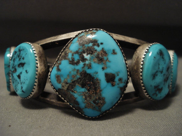 Museum Vintage Navajo Persin Turquoise Native American Jewelry Silver Bracelet-Nativo Arts
