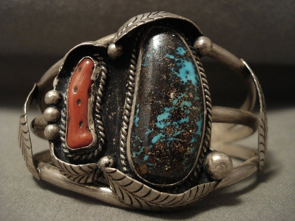 Museum Vintage Navajo Persin Turquoise Native American Jewelry Silver Coral Bracelet-Nativo Arts