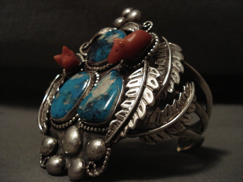 Museum Vintage Navajo 'Pig Fetish Coral' Turquoise Native American Jewelry Silver Bracelet Old-Nativo Arts