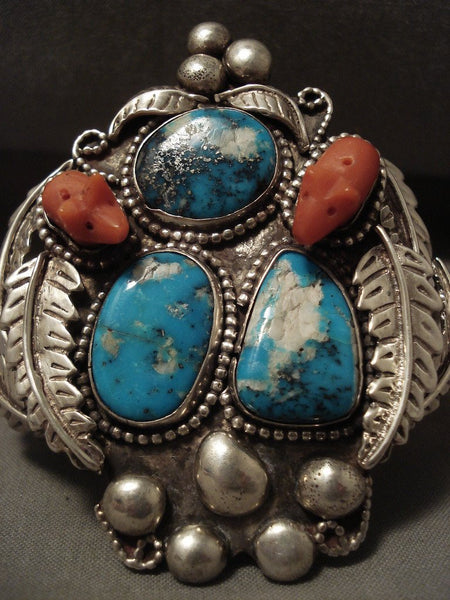 Museum Vintage Navajo 'Pig Fetish Coral' Turquoise Native American Jewelry Silver Bracelet Old