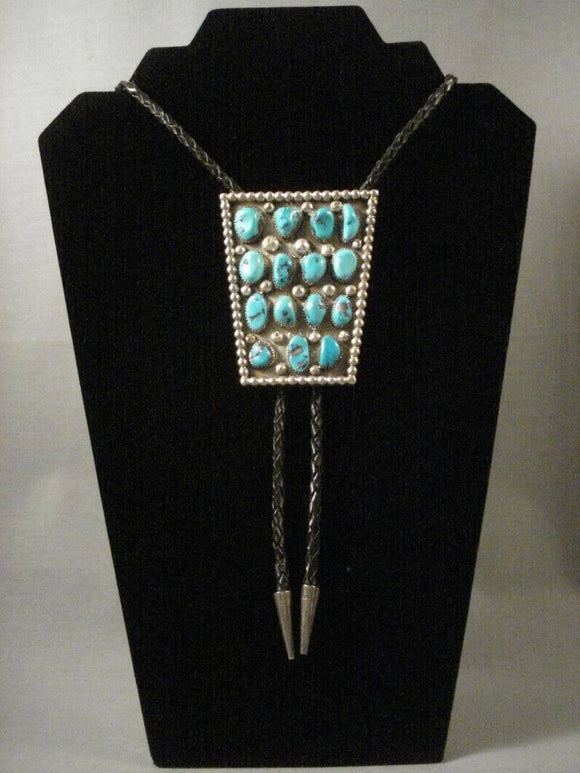 Museum Vintage Navajo Pilot Mountain Turquoise Long Family Native American Jewelry Silver Bolo Tie-Nativo Arts