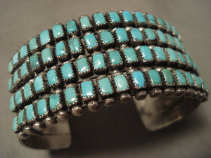 Museum Vintage Navajo 'Rectangled Turquoise' Native American Jewelry Silver Bracelet-Nativo Arts