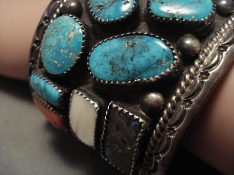 Museum Vintage Navajo shiprock Native American Jewelry Silver Turquoise Bracelet-Nativo Arts
