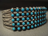 Museum Vintage Navajo Snake Eye Turquoise Native American Jewelry Silver Bracelet-Nativo Arts